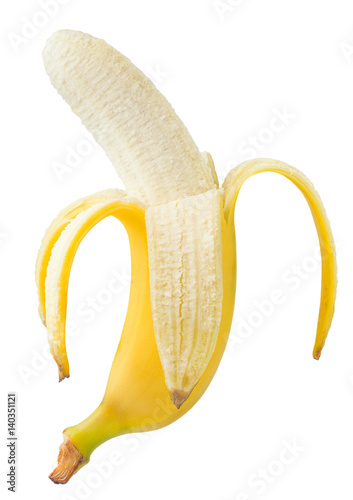 Fotografie, Tablou  Fresh tasty banana on a white background, isolated