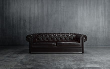 Black Leather Couch On Dark Gr...