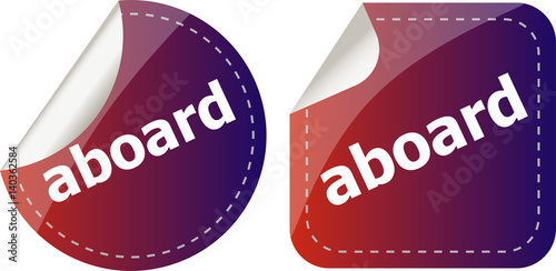 Fotografie, Obraz  aboard word stickers set icon button isolated on white