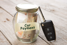 Car Finance Concept - Money Glass With Word Car Payment