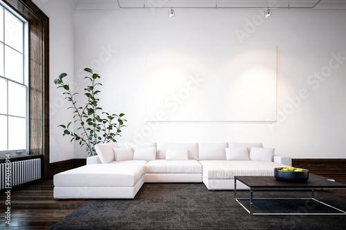 Large spacious modern minimalist living room – kaufen Sie ...