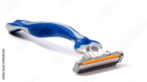 Use disposable shaving machine on white background