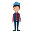 man wearing a cap cartoon icon over white background. colorful design. vector illustration