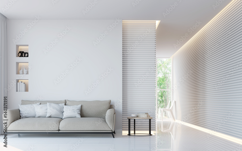 Fototapety, obrazy: Modern white living room interior 3d rendering image.A blank wall with pure white. Decorate wall with extrude horizon line pattern and hidden warm light