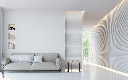 Valokuva  Modern white living room interior 3d rendering image