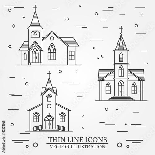 Foto Vector thin line icon church.