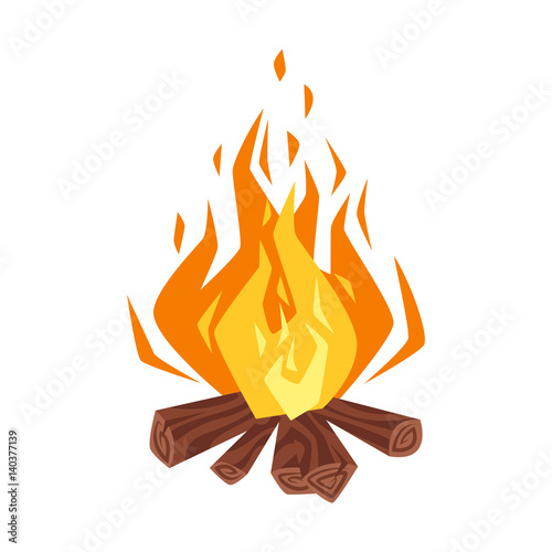Obraz Vector cartoon style illustration of bonfire. - fototapety do salonu