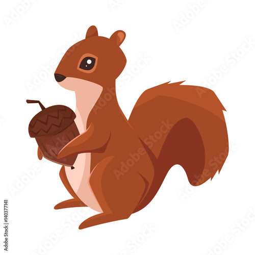 Fotografie, Obraz Vector cartoon style illustration of squirrel with acorn