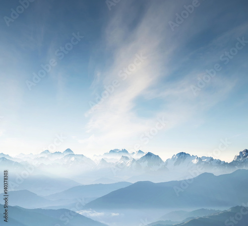 Foto auf Leinwand Gebirge Hills during sunrise in mountain valley. Beautisul natural landscape