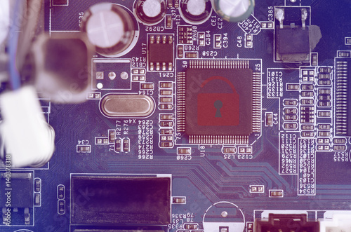 hacked symbol on computer circuit board with open red padlock buyhacked symbol on computer circuit board with open red padlock