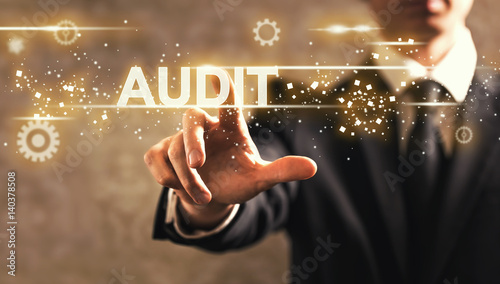 Audit text with businessman Wallpaper Mural
