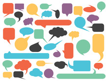 Blank Empty Speech Bubble Silhouettes Set In Various Colors. Simple Flat Vector Illustration.