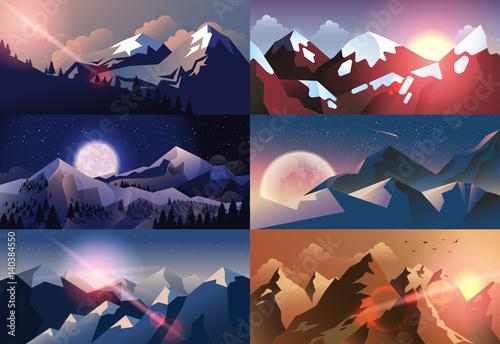 Foto op Aluminium Nachtblauw Set background mountain landscape in flat style