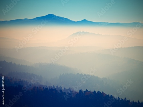 Canvas Prints Hill Silhouette view of mountains at sunset, national park