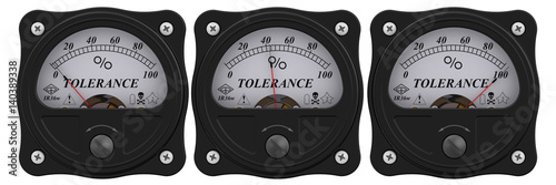 Photo Analog indicator showing the level of tolerance