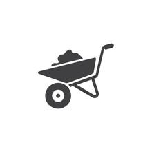 Wheelbarrow Icon On The White ...