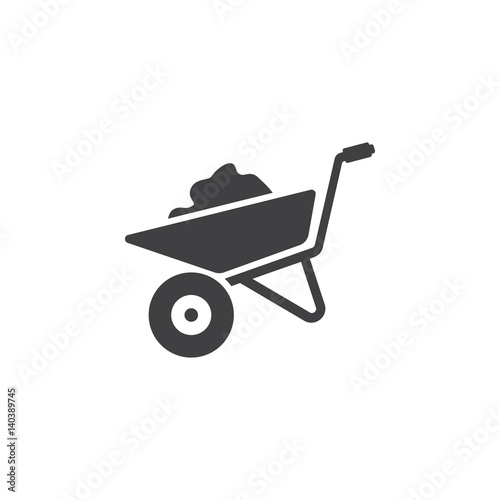 Cuadros en Lienzo  wheelbarrow icon on the white background