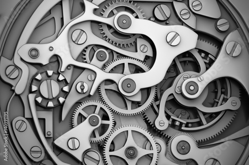 Fototapeta Watch machinery with gears grayscale obraz