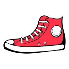 Red Sneaker Icon Cartoon