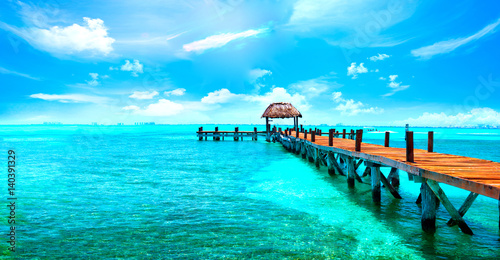 Foto op Plexiglas Caraïben Exotic Caribbean island. Tropical beach resort. Travel or vacations concept