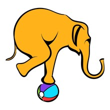 Circus Elephant On The Ball Ic...