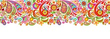 Seamless Decorative Border With Abstract Colorful Flowers Print