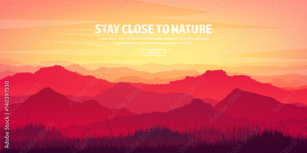 Fototapety, obrazy: Mountains and forest. Wild nature landscape. Travel and adventure.Panorama. Into the woods. Horizon line.Trees,fog,wood.Backgrounds se