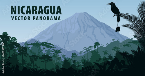 vector panorama of Nicaragua with vulcano in jungle rainforest and Turquoise bro Wallpaper Mural
