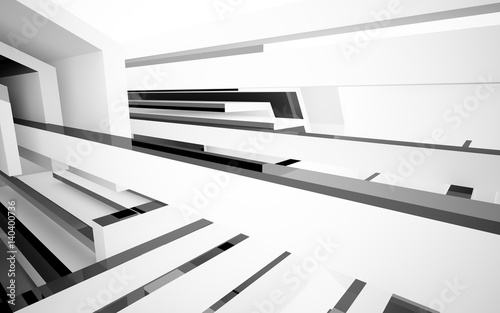 Abstract white interior with glossy black geometric shapes Fototapeta