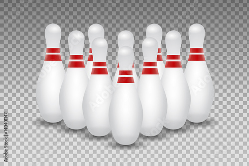 Fotomural Vector realistic bowling skittles on the transparent background.