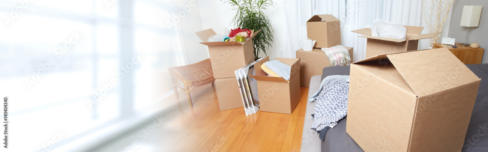 Fototapety, obrazy: Moving boxes in new apartment