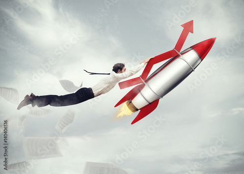 Photo  Take-off business success. 3D Rendering