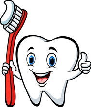 Cartoon Tooth Holding A Tooth ...