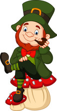 Cartoon Happy Leprechaun Sitti...