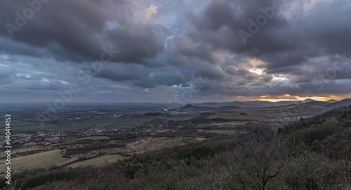 Spoed Foto op Canvas Grijze traf. Sunset from Krizova hill over Litomerice town