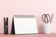 Calendar Mock Up On Pink Shelf Or Desk.