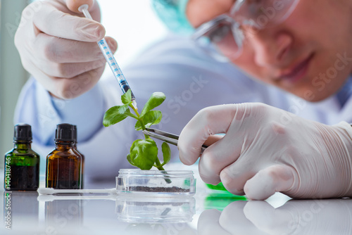 Photo  Biotechnology scientist working in the lab