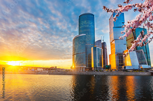 Skyscrapers of Moscow City at spring sunset