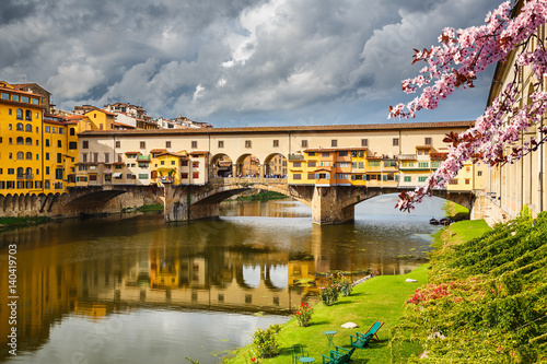 Aluminium Prints Florence Ponte Vecchio in Florence at spring, Italy