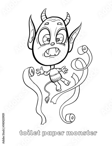 Cute And Funny Halloween Monster Coloring Page Toilet Paper