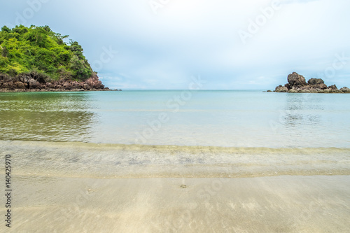 Tuinposter Lichtblauw sand beach at sea coast side,Summer landscape scene