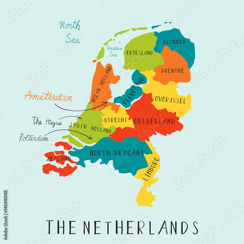 Fotografie, Tablou  The Netherland maps hand drawing.illustration vector EPS 10