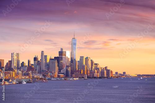 Downtown Manhattan skyline at sunset