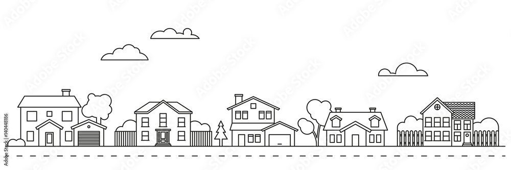Fototapeta Village neighborhood vector illustration