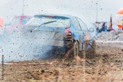 Leinwand Poster Wreck scrap cars dirt race