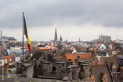 Deurstickers Brugge Cityscape of architecture of streets of Gent town, Belgium in rainy day