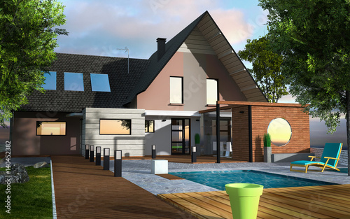 Maison Contemporaine Terrasse Bois Avec Piscine Buy This Stock