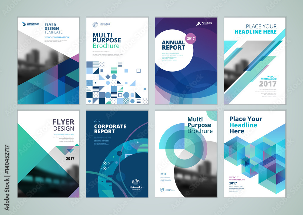 Fototapeta Brochure, annual report, flyer design templates in A4 size. Set of vector illustrations for business presentation, business paper, corporate document cover and layout template designs.