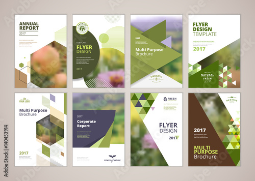 Fotografia Natural and organic products brochure cover design and flyer layout templates collection