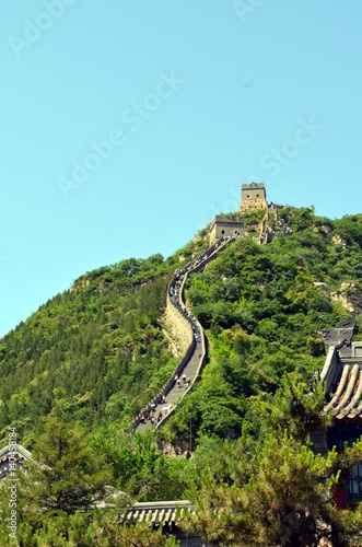 In de dag China The Great Wall of China and mountains